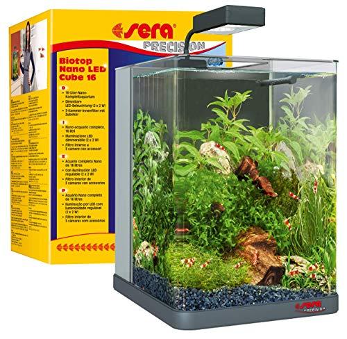 sera Biotop Nano LED Cube 16l ein Aquarium Komplettset - Plug & Play - aus gebogenem...
